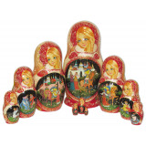 Nesting doll 10 pcs. fairy tales on red view