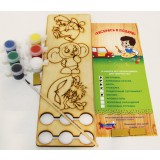 Creativity kit Set 3 magnets with paints and a brush