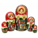Nesting doll 5 pcs. The couple with the accordion, man with a girl