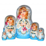 Nesting doll Sergiev-Posad 5 pcs. Camomiles light-blue