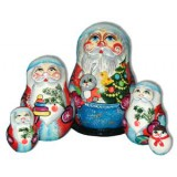 New Year and Christmas matrioshka nesting doll 5 pcs...