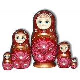 Nesting doll Sergiev-Posad 5 pcs. Gold pattern Maroon (deep red)