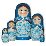 Nesting doll Sergiev-Posad 5 pcs. Gzgel Aqua