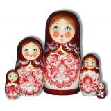 Nesting doll Sergiev-Posad 5 pcs. Gzgel Maroon