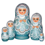 Nesting doll Sergiev-Posad 5 pcs. The bride Geen-Aqua