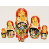 Nesting doll 7 pcs. Fairy tale Konjok-Gorbunok (Small horse with...