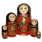 Nesting doll Sergiev-Posad 5 pcs. golden khokhloma