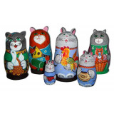 Nesting doll 5 pcs. Cat in assortment big