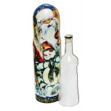 Nesting doll Case for bottle New Year's with a snowman of circular 0,7