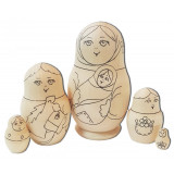Nesting doll prepared for paint, Children  (prepared for paint)