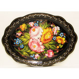 Zhostovo tray Oval black 47x34 cm.