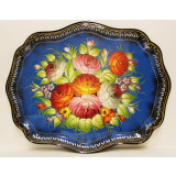 Zhostovo tray Oval blue 47x32