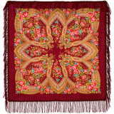 Pavlovo Posad Shawl Pavlovoposadskij with wool fringe 89 x 89 685-4...