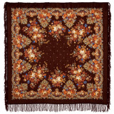 Pavlovo Posad Shawl Pavlovoposadsky with wool fringe 125 x 125...