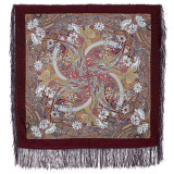 Pavlovo Posad Shawl Pavlovoposadskij with wool fringe 89 x 89 853-57