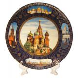 Plate porcelain (4K) Collage. St. Basil Cathedrak 20 cm...