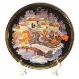 "Plate 20-27 Palekh 20 cm. ""the Winter three"" + a support in packing"