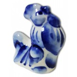Gzhel figurine rooster, intermediate, №2
