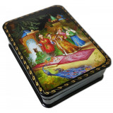 Lacquer Box with elements of hand painting the tale of Tsar Saltan,...