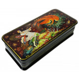 Lacquer Box with elements of hand painting The Firebird, a pencil...