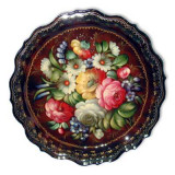 Zhostovo tray The round, Burgundy d- 37