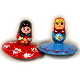Toy wooden Doll spinning Top - K