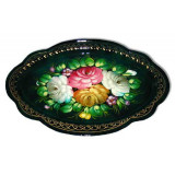 Zhostovo tray black 33x23