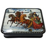 Lacquer Box with elements of hand painting winter ride, Blizzard
