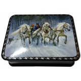Lacquer Box with elements of hand painting winter ride snowfall