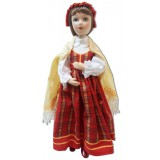 Doll handmade porcelain Latvian costume