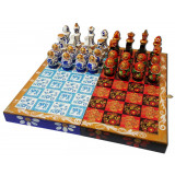 Chess set matryoshka Gzhel and Khokhloma