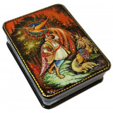 Lacquer Box with elements of hand painting The Firebird, a fairy...