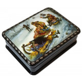Lacquer Box with elements of hand painting sledding
