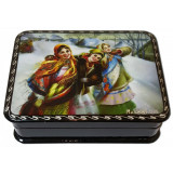 Lacquer Box with elements of hand painting three girlfriends beauties