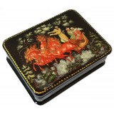 Lacquer Box with elements of hand painting winter ride