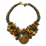 Amber necklace 10219 natural amber, beading and stone, simbircite