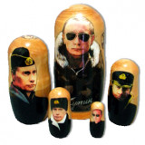 Nesting doll political leaders Vladimir Putin in military uniform,...