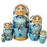 Nesting doll Sergiev-Posad 5 pcs. Shawl Blue