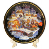 "Plate 10-21 Palekh  10 cm. ""the Winter ride"" + a support in packing"