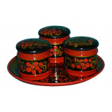 Khokhloma for food Set for spices 4 subjects