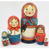 Nesting doll Traditional 5 seats Trad. with chicken, antiqued
