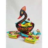 Khokhloma gift the candy dish Swan, 17h14h14
