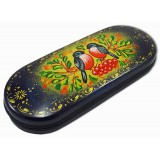 Lacquer Box Bullfinches, hand-painted (metal, plastic), 16x6x3.5