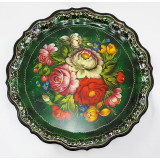 Zhostovo tray The round, green, d- 37