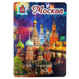 Magnet vinyl 025-6-19K22 Moscow at Night, khvb, Spasskaya tower, foil
