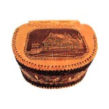 birch bark products a bread box with a hinged lid, Hut, 23 x 30 x 31