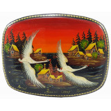 Lacquer Box Kholuy Russian North, 10 x 8 x 3