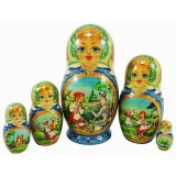 Nesting doll 5 pcs. Little red riding Hood and Gray Wolf, Victor...