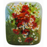 Lacquer Box Fedoskino A bouquet of flowers, poppies with daisies
