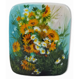 Lacquer Box Fedoskino A bouquet of flowers, Sunflowers with daisies
